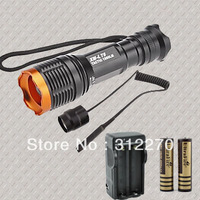 CREE XM-L xml T6 1800 Lumens 7 mode Zoomable Led flashlight light + 2 x 18650 4000mah Battery + Charger+Remote Pressure Switch