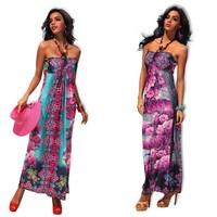 sexy 2013 new designer summer beach dress  v neck long maxi peony Bohemian halter beach dress with sleeveless evening dress 4184