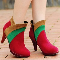 Free shipping high heels pumps ladies shoes woman big size eur 32-48 fashion colors block  2013 ankle boots for women CSXX34461