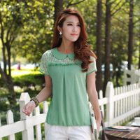 2013 women's loose plus size cutout patchwork lace top t-shirt peter pan collar chiffon shirt
