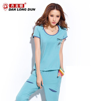 2013 sportswear set women's patchwork denim short-sleeve capris casual set