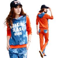 2012 autumn women's plus size color block with a hood set letter 100% long-sleeve cotton sportswear