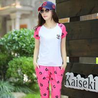 Summer 2013 Women sportswear set letter raglan sleeve o-neck casual female set