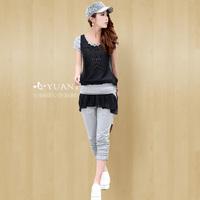 2013 summer chiffon patchwork set Women fashion short-sleeve capris casual sports set