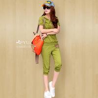 2013 women's fashion summer women's plus size sports set short-sleeve casual set mm sportswear