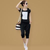 2013 summer o-neck short-sleeve sports set fashion strapless women's casual set plus size