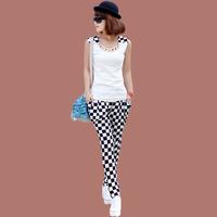 2013 summer casual set female black and white lattice o-neck sleeveless plaid set women's fashion