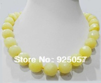14mm natural perfect round faceted yellow jade necklace 'Fashion jewelry
