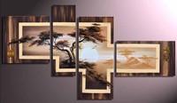 FRAMED handmade oil painting on canvas modern african landscape art 100% original directly from artist