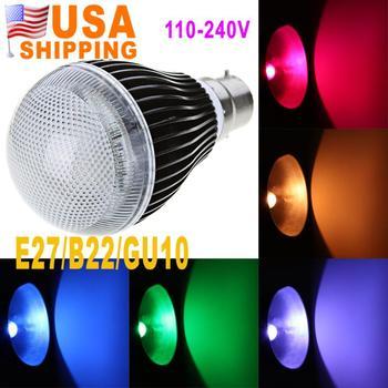 US Stock To USA CA GU10 E27 B22  9W 420LM RGB LED Light 2 Million Color Voice Music Control Bulb Lamp IR Remote 110-240V