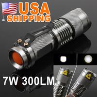 US Stock to USA CA 7W 300LM Mini CREE LED Flashlight Torch Adjustable Focus Zoom Light Lamp UPS Free Shipping