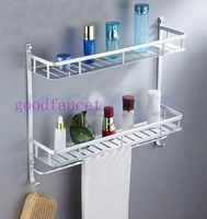 Free Shipping Wholesale / Retail Promotion Bathroom Accessories Aluminum Shower Shelf Dual Tiers W/ Hook & Towel Bar Chrome