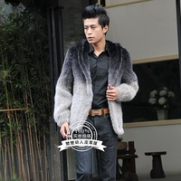 free shipping 2013 gradient color male mink hair outerwear men's with a hood short design marten overcoat mink male fur  retail