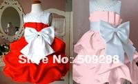 Retail 1Pcs 2014 children dress girls Princess dress chiffon Big bowknot dress for summer