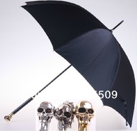 Free Shipping New Fashion Design Anti-UV Straight Umbrella With Skull Handle