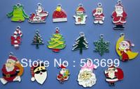 S1181  Free Shipping 100pcs zinc alloy metal mixed many 'Santa Claus and Christmas tree ' enamel pendant enamel charms 27*23mm