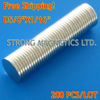 "Free Shipping! N35, D15.875X1.59mm,  D5/8""X1/16""  200pcs/lot,  Disk  Neodymium  NdFeB permanent magnets"