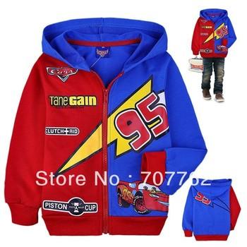 HOT SALT !! Free shipping,Wholesale 6pcs/lot baby Boys hoodies, cotton kids hooded coat, cartoon cars sweatshirt,children coats