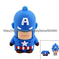 Free Shipping Captain America Cartoon USB Flash Drive 2GB/4GB/8GB/16GB,Unique Cartoon Figure USB 2.0 Memory Thumb Drive U Disk