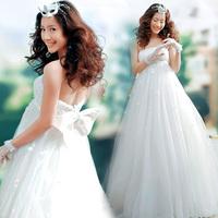 Tube top sweet princess high waist bride wedding formal dress 2013 spring maternity wedding dress 683