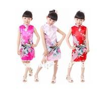 Girls Chiness Dress Retail 1 PCS Red Phoenix pattern Girl's Charmeuse Chiness Dress The cheongsam for kids Free shipping
