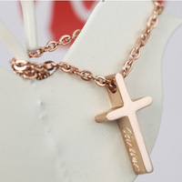 Cross necklace male titanium steel pendant female lovers fashion gift