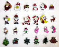 S1183  Free Shipping 100pcs zinc alloy metal mixed many style Christmas tree Santa Claus ' enamel pendant enamel charms