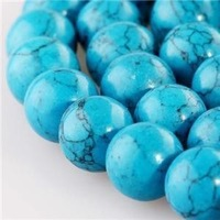 DIY Beads 8mm 15' Blue Turkey Turquoise Round Gems loose Beads Free shipping Fashion women jewelry