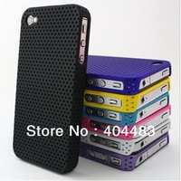 50pcs/ lot Free Shipping  net hole design for iphone 4 4S case , 5 colors available