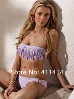 DHL Free 100PCS/LOT Sexy Swimwear Women Padded Boho Fringe Bandeau Top and Bottom Bikini Set New Swimsuit Lady Bathing suit