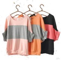 New 2014 S-XXL plus size top women summer  batwing sleeve loose stripe casual  t shirt women batwing shirt school blusas