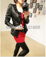 Free shipping Korean  HOT New Women's   PU Leather Jacket Diamond  Lady Coat Outerwear  QC0224