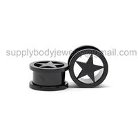 16mm Ear Plug / Flesh Tunnel Surgical Steel Black Star
