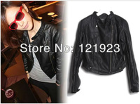 Free shipping HOT Korean  New Women's Europe style leather motorcycle   Zipper PU Leather Jacket Lady Coat Outerwear QC0225