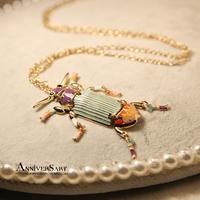 Topshop fashion glaze color block patchwork beetle pendant long design sweater necklace