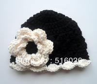 Crochet baby Hat, Girls Cotton Beanie, Scalloped Beanie Hat, Black and Cream, Sale Crochet Toddler Hat , MADE TO ORDER 10pcs/lot