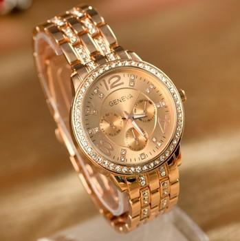 Женева часы полный стали платье горный хрусталь аналоговые наручные часы мужчин случайные часы 2014 дамы мужской кварцевые часы