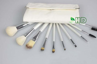 free shipping wholesale  3 set / lot kits Top quality   goat hair bag  1set/10PCS  cometstic brush + white color PU bag
