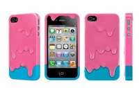 5pcs/lot Stylish 3D Melt Ice-Cream Cute Hard Plastic Cover Case Skin For IPhone 4/4G 4S Free Shipping
