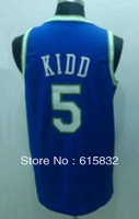 Free shipping Cheap Wholesale Men's Basketball Jerseys # 5 Kidd Blue Basketball Jersey High Quality Size:S-XXXL