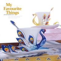 Beautiful porcelain enamel porcelain flange mdash . peacock coffee gift box set,free shipping