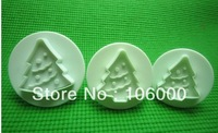 3PCS/SET christmas tree Cookie Biscuit Cutter Mold Cookie Stamp fondant cake plunger cutter freeshipping