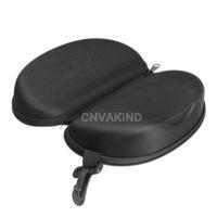 #Cu3 Zipper Eye Glasses Sunglasses Hard Case Box Portable Protector Black