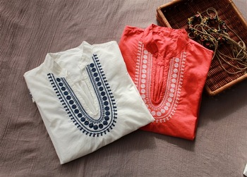 Classic embroidery V-neck speaker short-sleeve thin cotton cloth shirt loose small medium-long shirt female bohemia