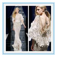 Luxury Crystals Flower Low Back Arabic Evening Dress(EVFA-1095)