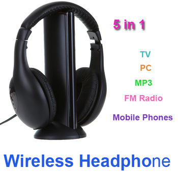 New 5 in 1 HiFi Wireless Headphone Earphone Headset FM Radio Monitor MP3 PC TV Audio Mobile Phones Free Shipping wholesale