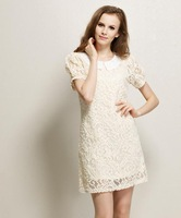 Free Shipping 2013 New Fashion Summer Dresses Women's Wear Lace Hollow Out Dress Beige/Black F43