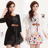 4 Colors M/L/XL/XXL Casual Dress 2013 Summer OL Korea Fashion Short-sleeve Colorful Dot Chiffon Faux Two-piece Dresses For Women