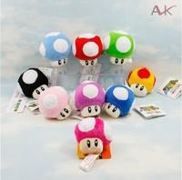"Wholesale Free Shipping EMS 100pcs/lot 3"" Super Mario Bros Mushroom Plush Soft Plush Doll Stuffed Toy keychain"