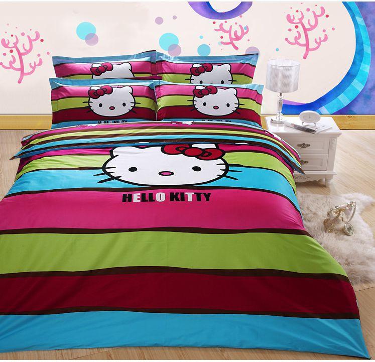 cute hello kitty queen size 100 cotton bedding set comforter set